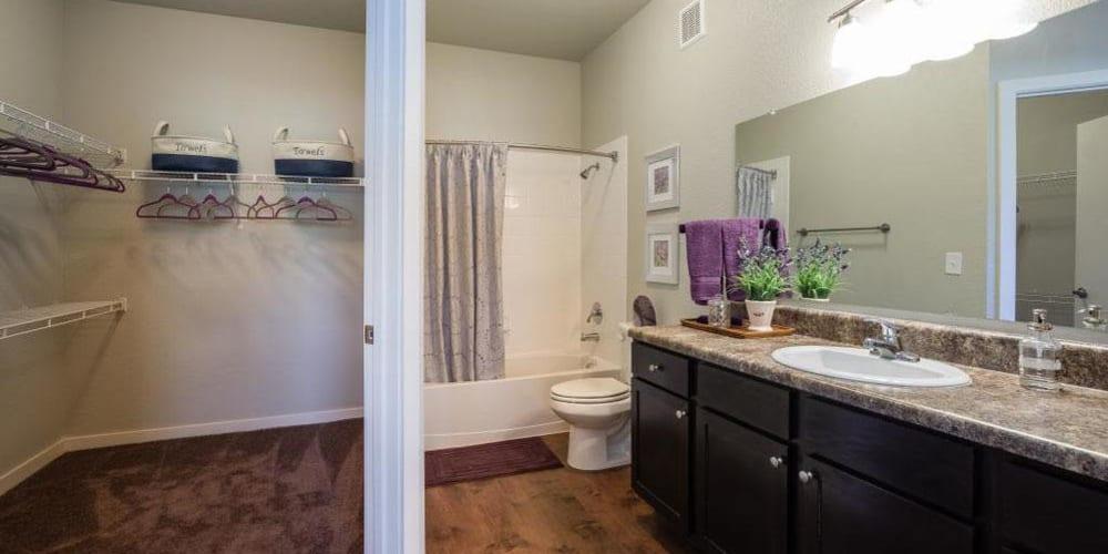 Bathroom with tons of extra storage space at Verandas at Alamo Ranch in San Antonio, Texas