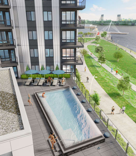 A aerial view rendering of The Columbia at the Waterfront in Vancouver, Washington