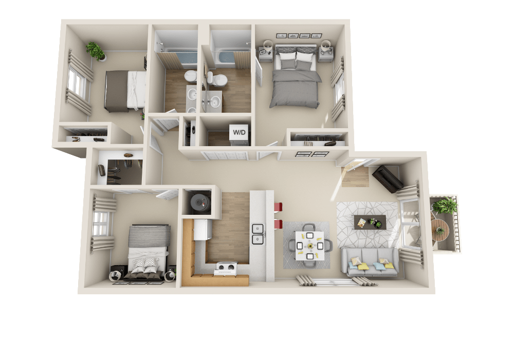 Three bedroom floor plan at Belle Creek Apartments in Henderson, CO