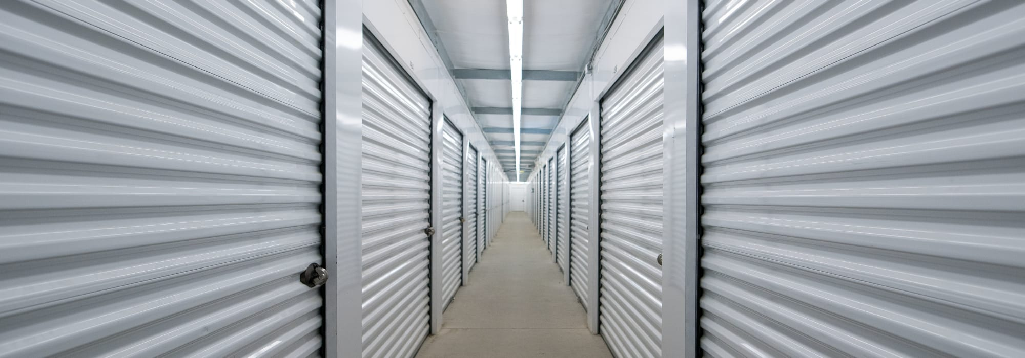 White doors on interior units at Apple Self Storage - Saint John East in Saint John, New Brunswick