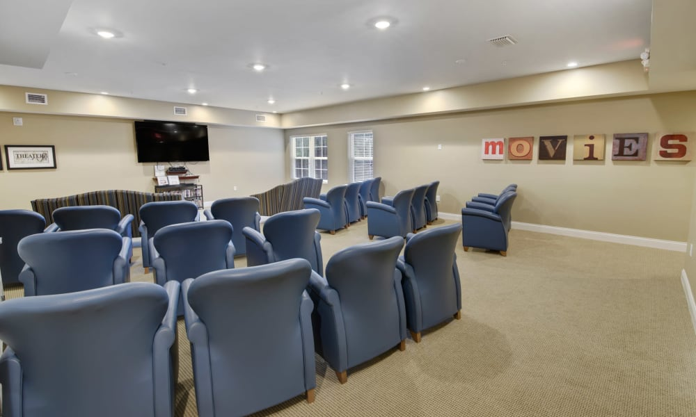 Resident movie theater at Keystone Place at Terra Bella in Land O' Lakes, Florida