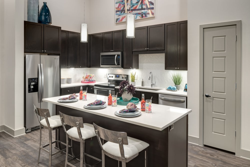 Modern kitchen at apartments in Frisco, Texas