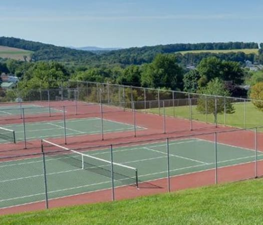 Onsite tennis courts at Lion's Gate in Red Lion, Pennsylvania