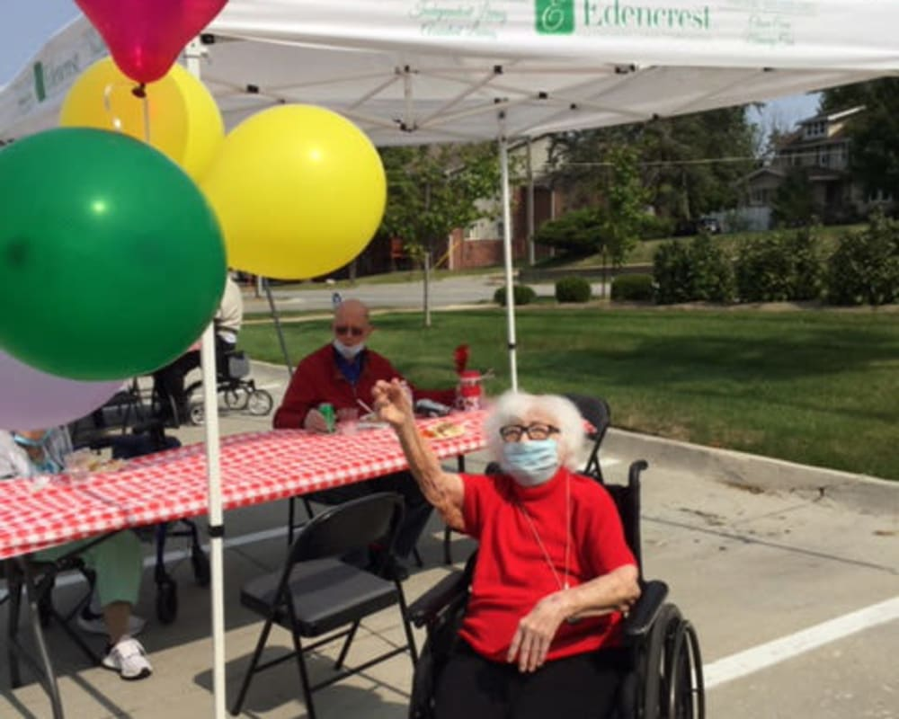 Resident enjoying activities outside at Edencrest at The Legacy in Norwalk, Iowa.