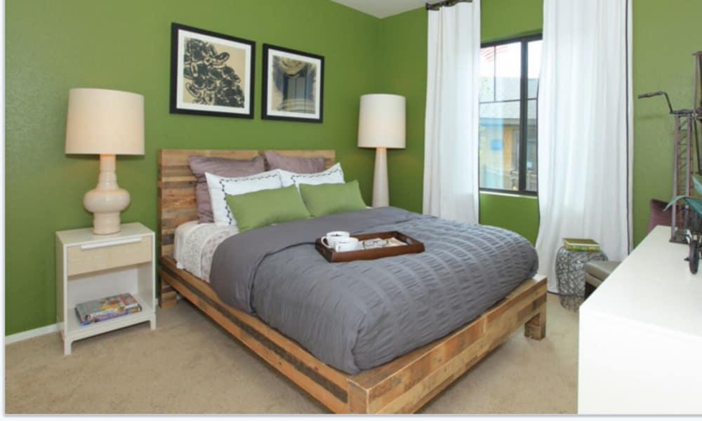 Comfy bed at Elevation Apartments