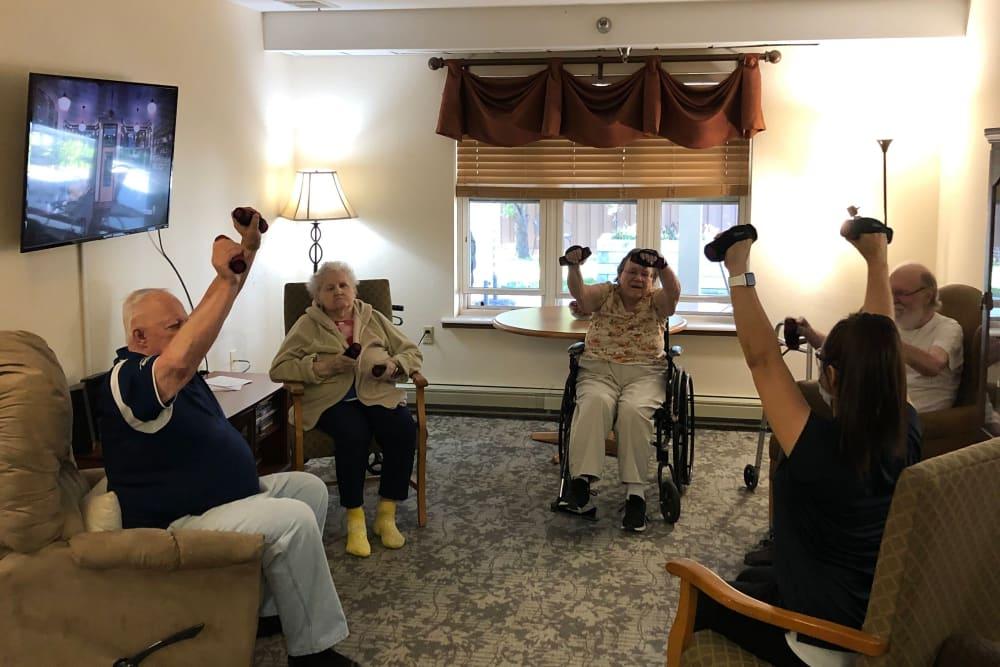 Resident fitness classes at Landings of Sauk Rapids in Sauk Rapids, Minnesota