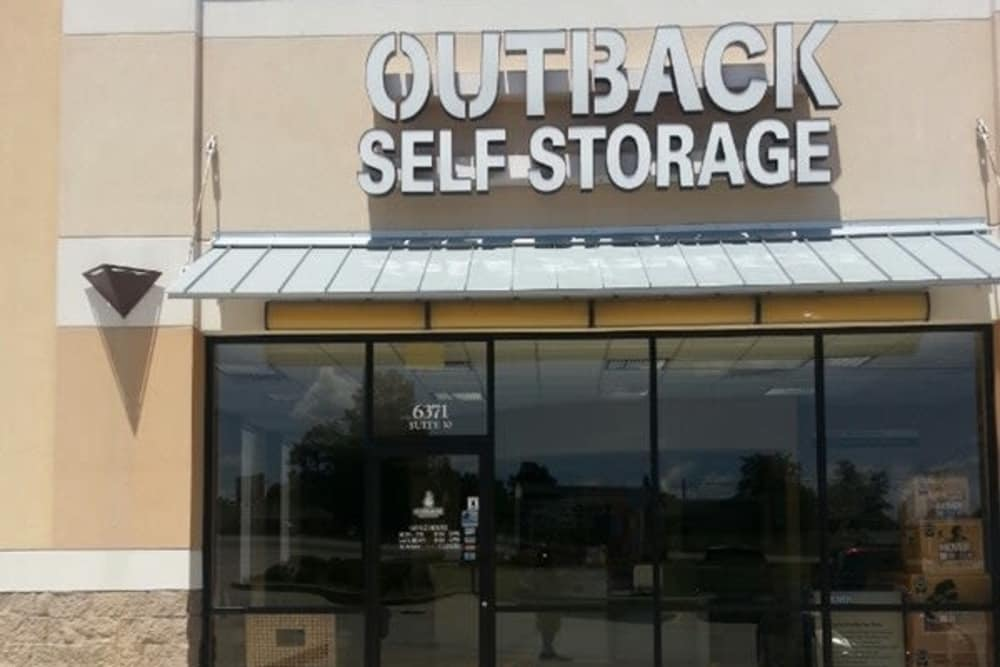 Exterior view of our office at Outback Self Storage in Hattiesburg, Mississippi