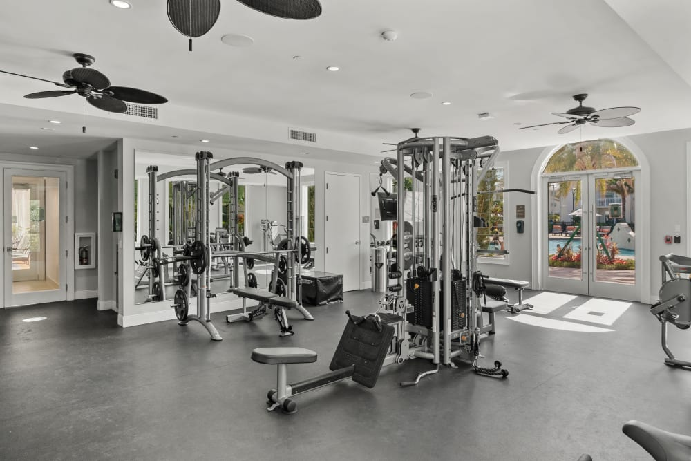 Well-equipped fitness center at Town Lantana in Lantana, Florida