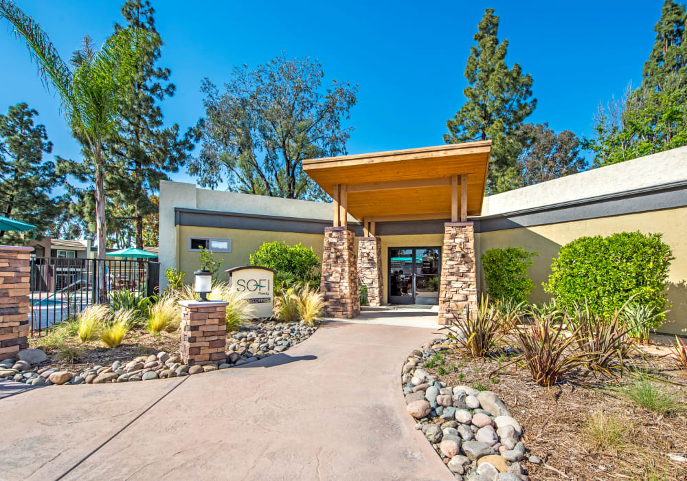 Exterior view of the leasing center at Sofi Poway in Poway, California