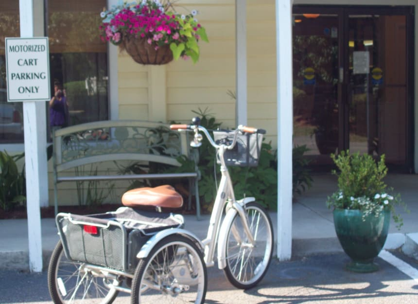 Front entry with bike parking at Sandpiper Village in Mt. Pleasant, South Carolina