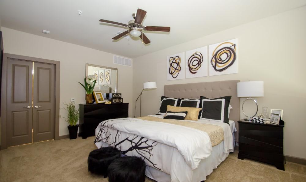 master bedroom at GreenVue Apartments