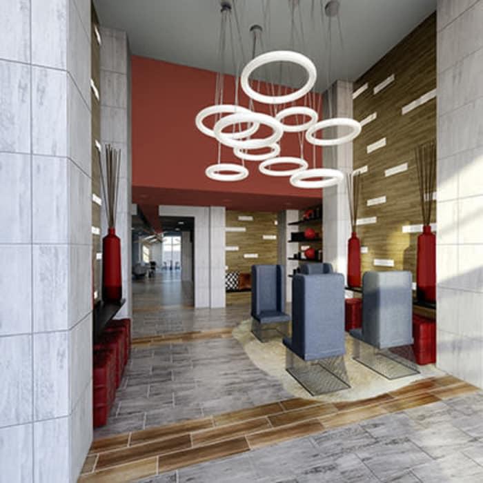 Modern lobby at 50 Front Luxury Apartments in Binghamton, NY