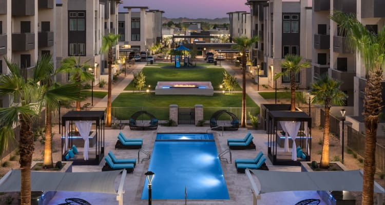 Courtyard with luxury pool and cabanas  at Aviva in Mesa, Arizona