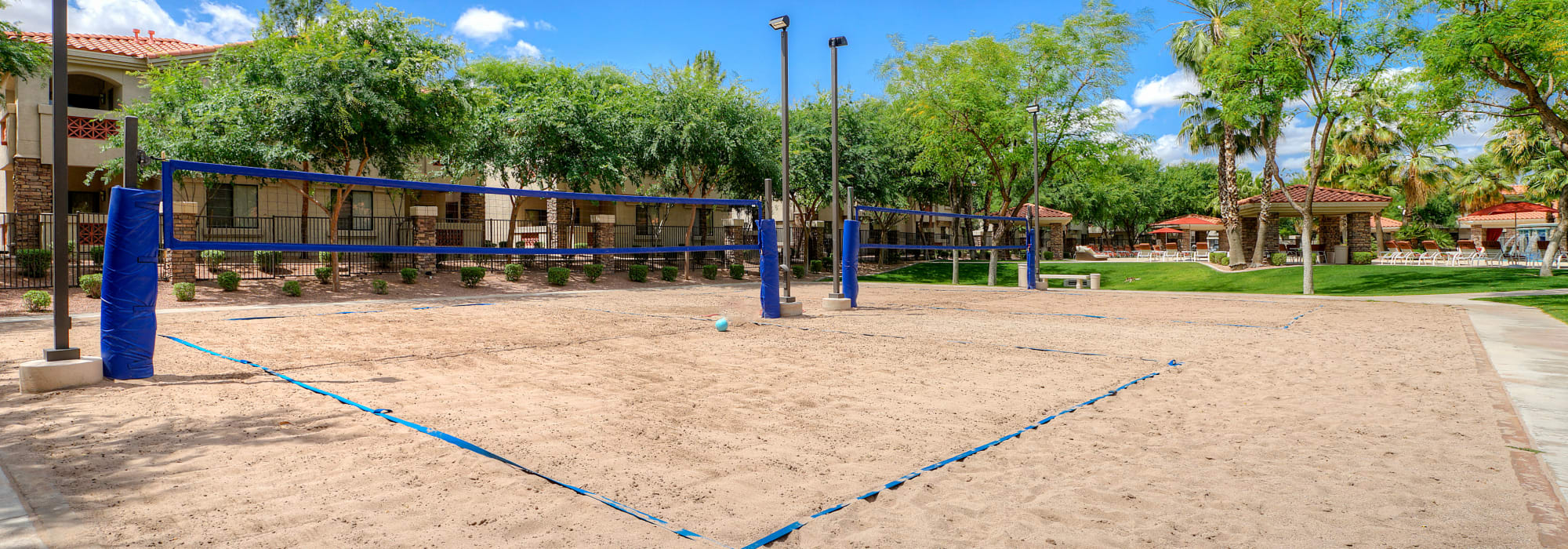 Large, sandy volleyball court at San Palacio in Chandler, Arizona