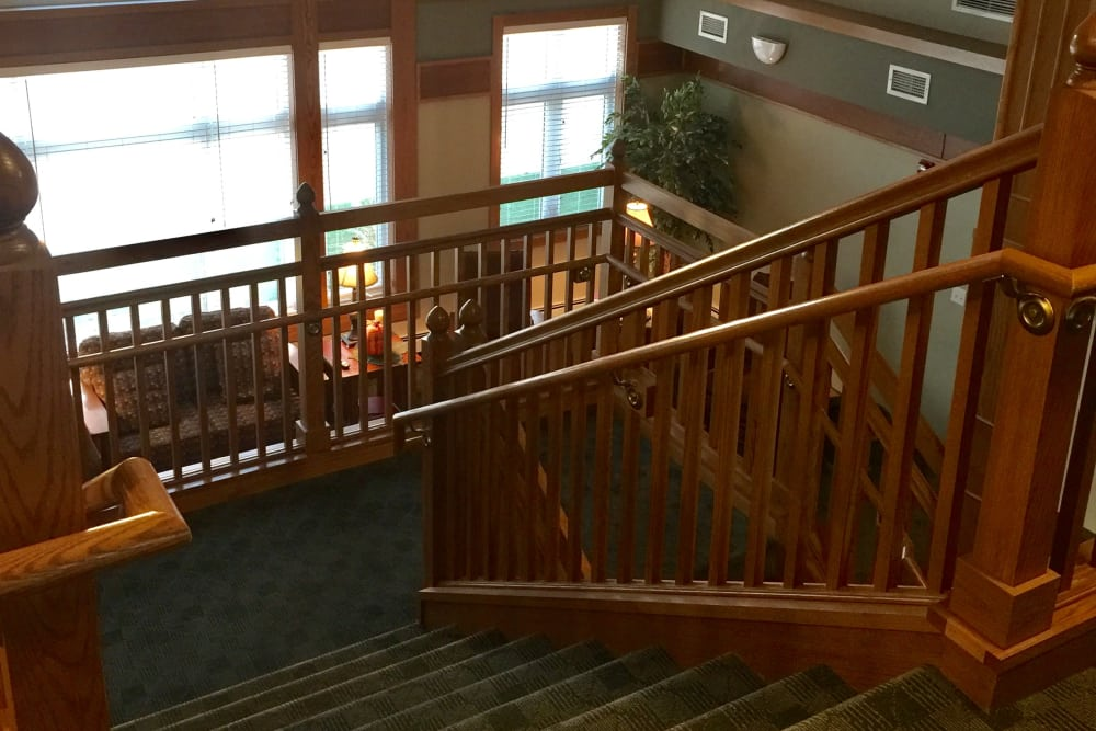 Nice staircase at Meadow Ridge Senior Living