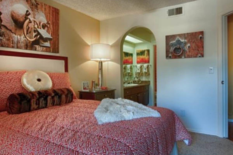 Enjoy spacious bedrooms at Casa Santa Fe Apartments in Scottsdale, Arizona