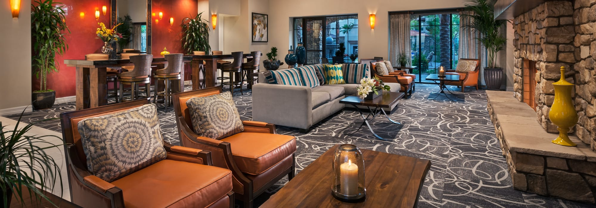 Spacious clubhouse to entertain friends and family at San Sonoma in Tempe, Arizona