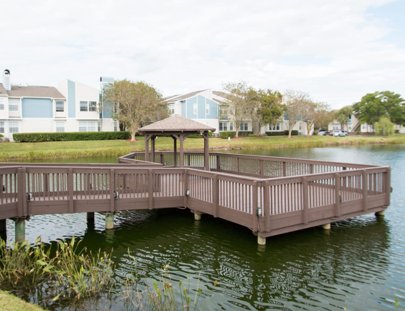 Picnic tables on the dock at Fairways at Feather Sound in Clearwater, Florida