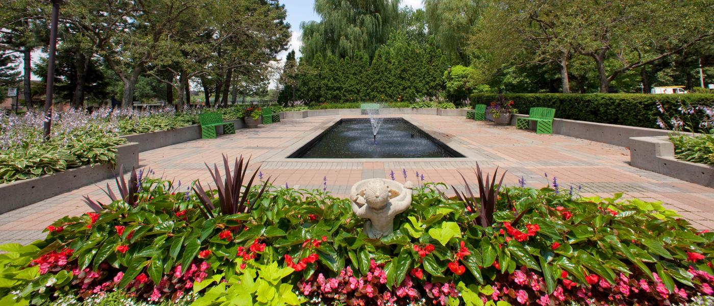 Beautiful fountain at Widdicombe Place in Etobicoke