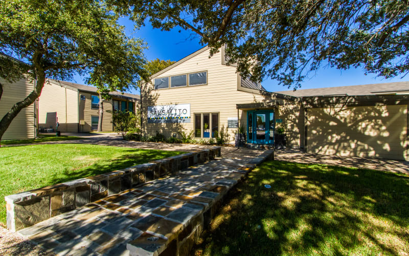 Sunny exterior at Sausalito Apartments in College Station, Texas