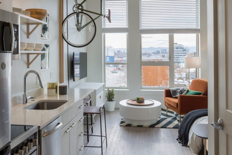 Studio bedroom with a city view at RiDE at RiNo in Denver, Colorado