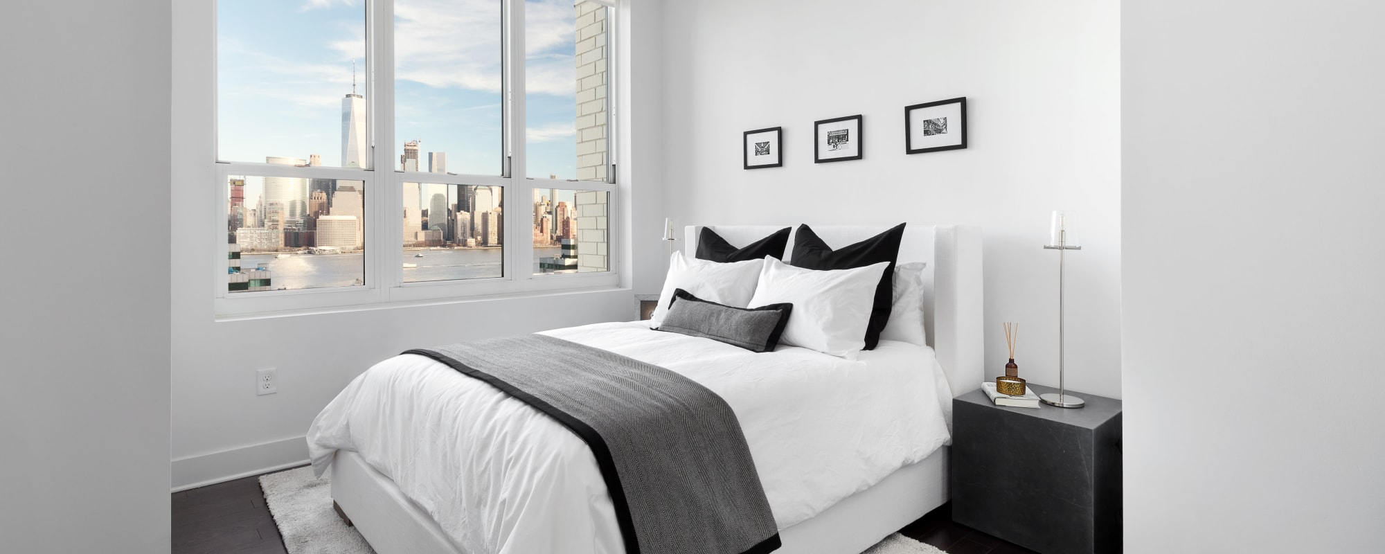 Master bedroom at Trump Bay Street in Jersey City, New Jersey