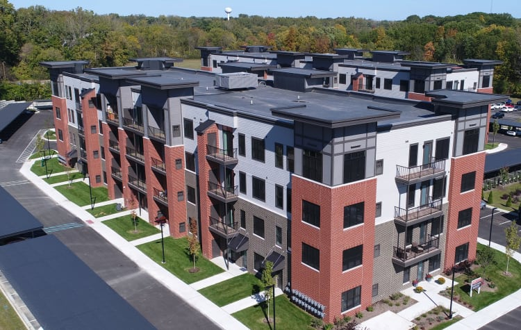 Beautiful exterior view of our apartments at Starkweather Lofts