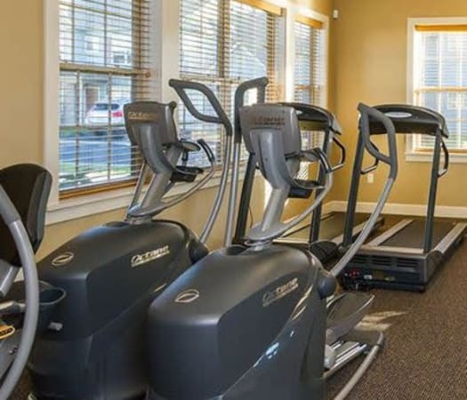 Fully equipped fitness center at North Ponds Apartments in Webster, New York