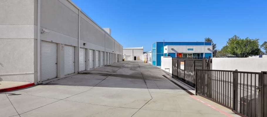 Drive-up storage behind an iron gate at A-1 Self Storage in Lake Forest, California