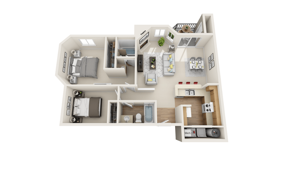 The B floor plan at Arbor Crossing Apartments in Boise and ID