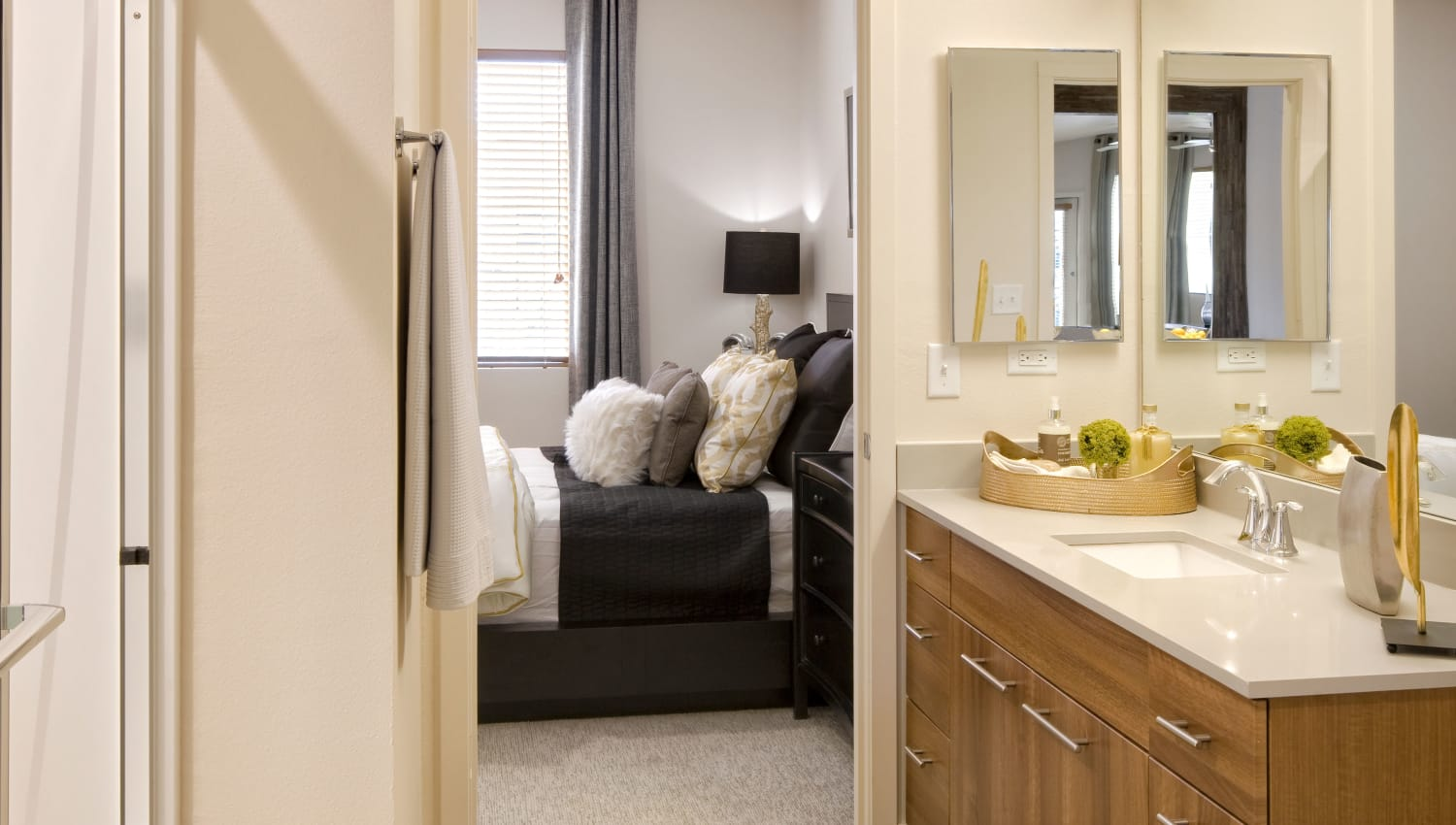Master bathroom attached to bedroom at Olympus Alameda in Albuquerque, New Mexico