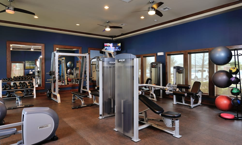 Spacious fitness center at apartments in Katy, Texas