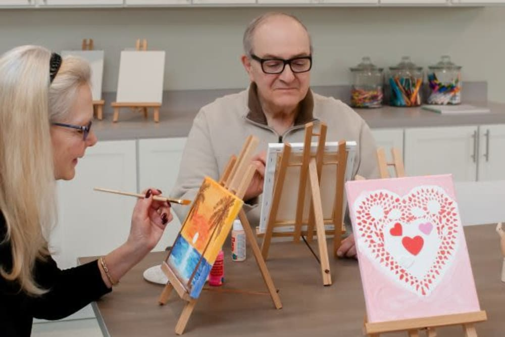 Residents creating a painting at Mercer Hill at Doylestown in Doylestown, Pennsylvania