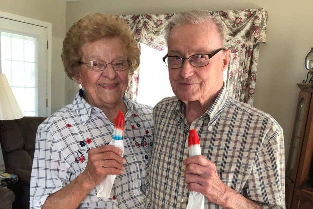 A happy couple with popsicles at St. Charles Health Campus in Jasper, Indiana