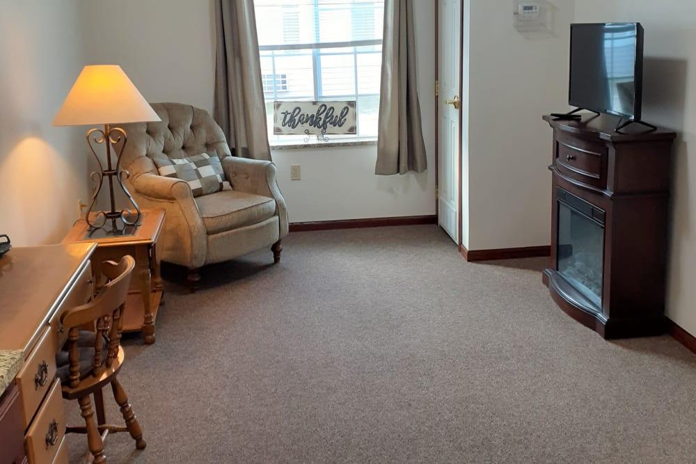 Full living room in apartment at Clover Ridge Place in Maquoketa, Iowa.