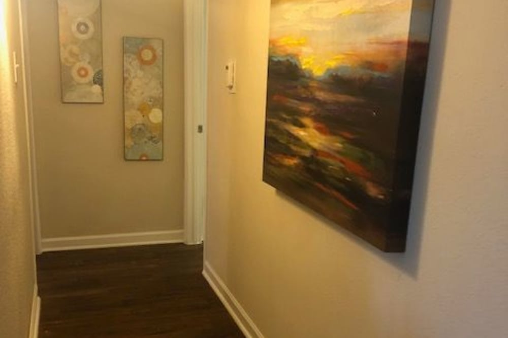 Hallway in model home at The Reserve at City Center North in Houston, Texas