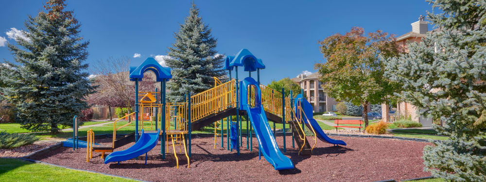 The onsite playground keeps the kids happy at Hawthorne Hill Apartments in Thornton, Colorado