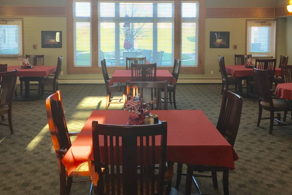 Sunny dining room at Meadow Ridge Senior Living