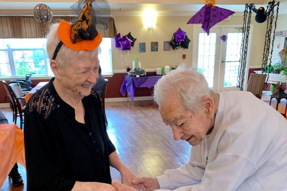 Residents dancing on Halloween at Magnolias of Chesterfield in Chester, Virginia
