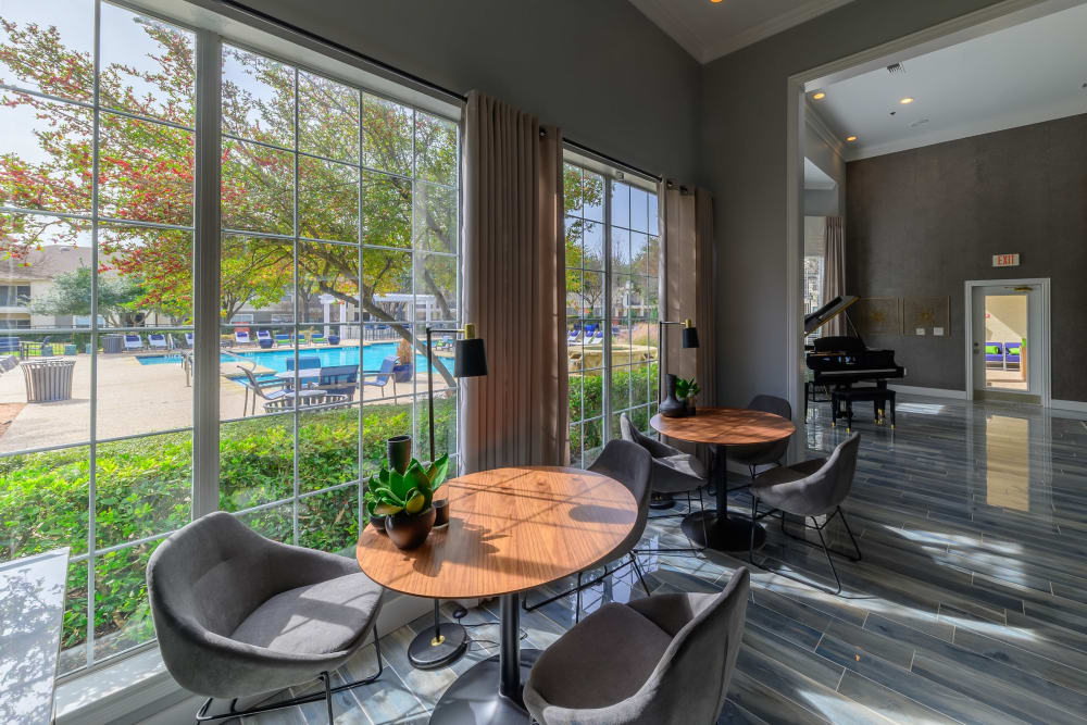 Floor-to-ceiling windows in the resident clubhouse at 23Hundred @ Ridgeview in Plano, Texas