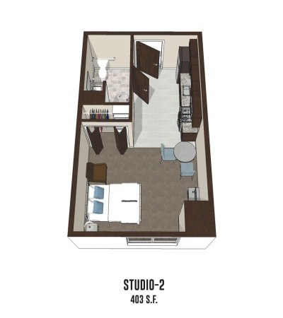 Independent living Studio 2 is 403 square feet at Gahanna in Columbus, Ohio.