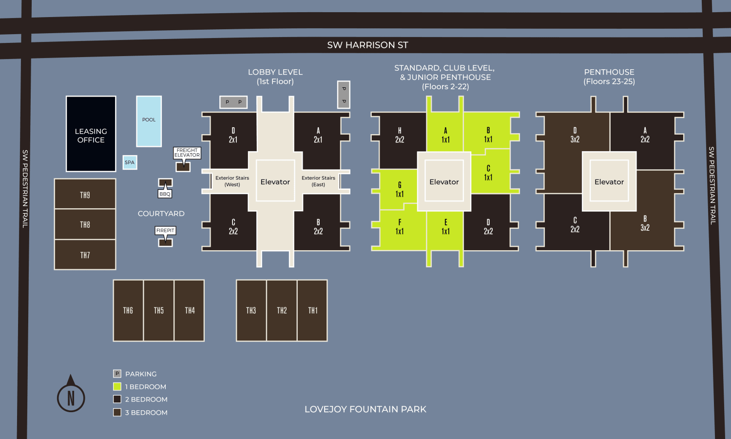 Community site map for Harrison Tower in Portland, Oregon