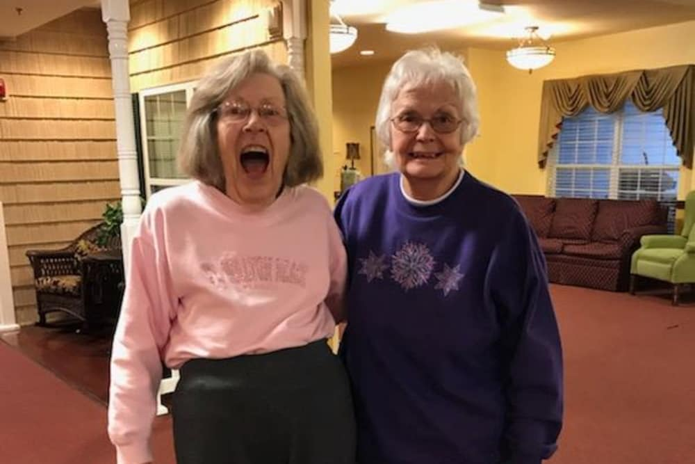 Two women smiling at Bethany Pointe Health Campus in Anderson, Indiana