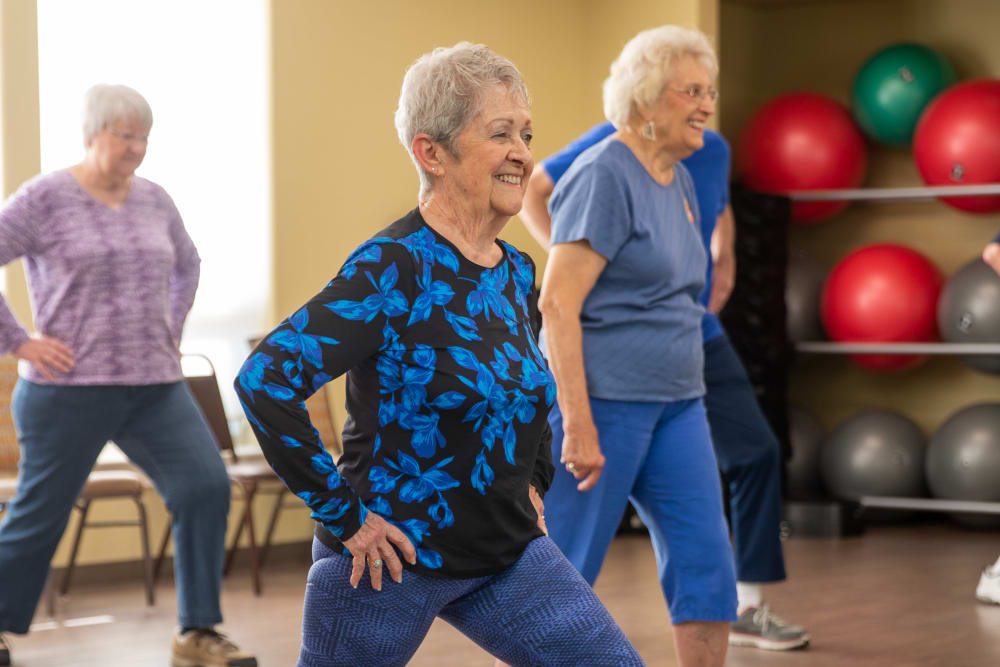A group of residents doing aerobics at Touchmark Health & Fitness Club in Meridian, Idaho