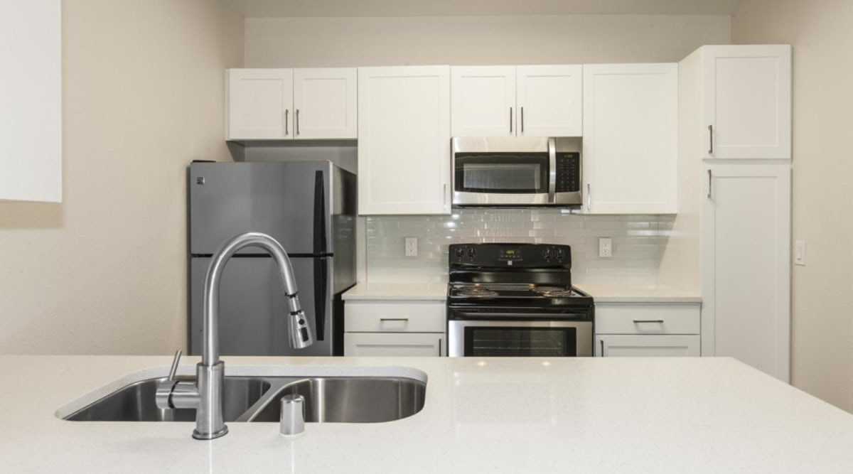 Luxury kitchen with stainless steel appliances at Park Central in Concord, California
