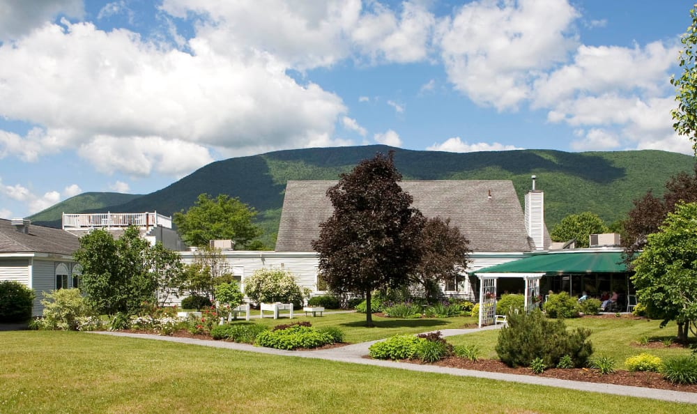 Lush landscaping at Equinox Terrace in Manchester Center, Vermont