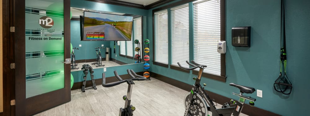 The fitness facility at M2 Apartments in Denver, Colorado