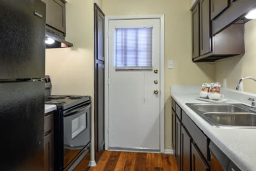 Model kitchen at The Manchester Apartments in Euless, Texas
