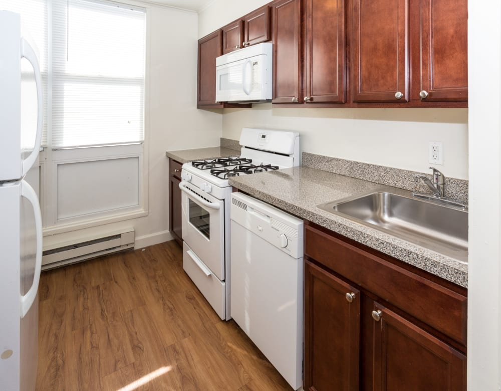 Renovated kitchen at Cortlandt Ridge in Ossining, New York
