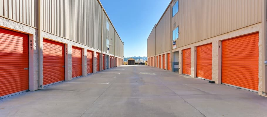 Wide drives make outside-accessed storage easy in La Habra, California at A-1 Self Storage